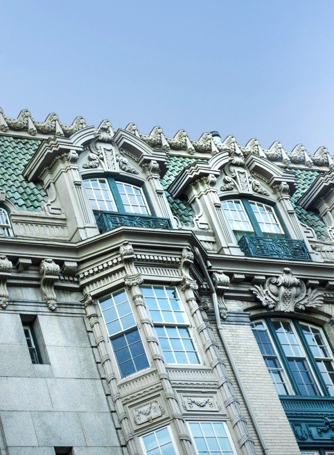 Beaux Arts facades in Brookline MA